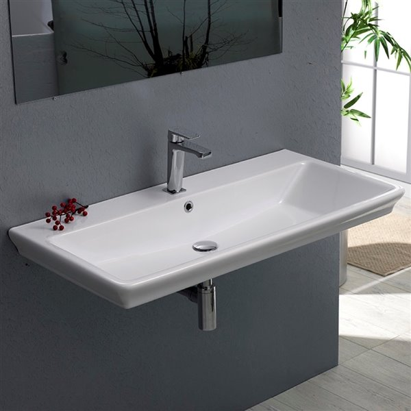 Nameeks Arica Wall Mounted Bathroom Sink in White - Rectangular - 38.58-in x 19.29-in