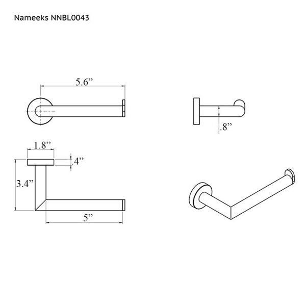 Nameeks Grand Hotel Wall Mounted Toilet Paper Holder In Chrome - 3.35-in x 1.73-in x 6.38-in