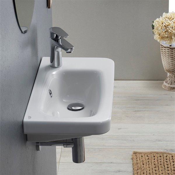 Nameeks Noura Wall Mounted Bathroom Sink in White - Rectangular - 23.7-in x 11.9-in