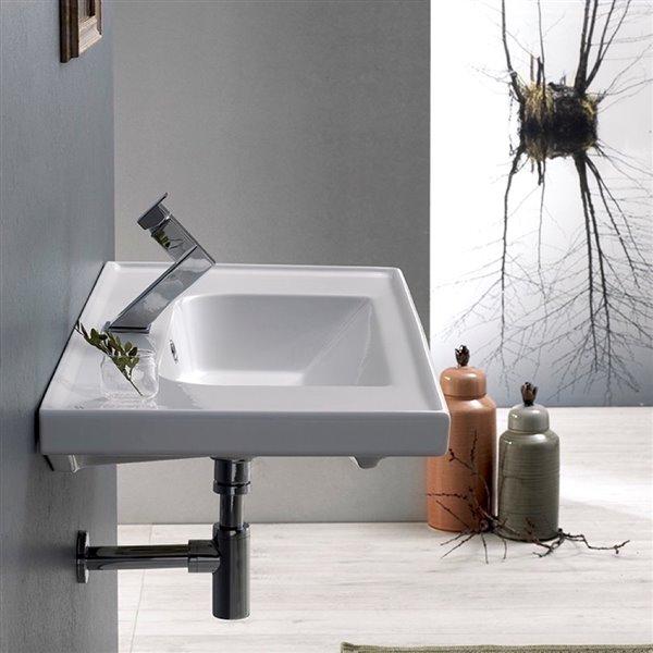 Nameeks Frame Wall Mounted Bathroom Sink in White - Rectangular - 31.5-in x 17.72-in