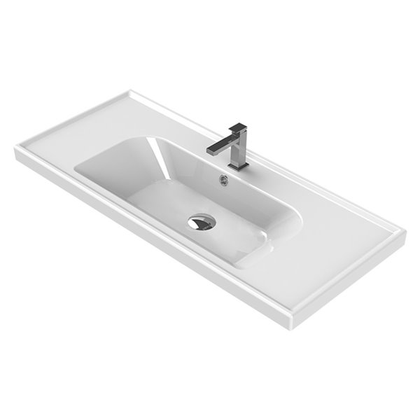 Nameeks Frame Wall Mounted Bathroom Sink in White - Rectangular - 39.37-in x 17.72-in