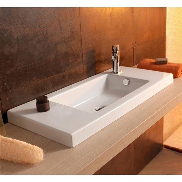 Nameeks Serie 35 Drop-In Ceramic Bathroom Sink - Square - 31.5-in x 13.78-in