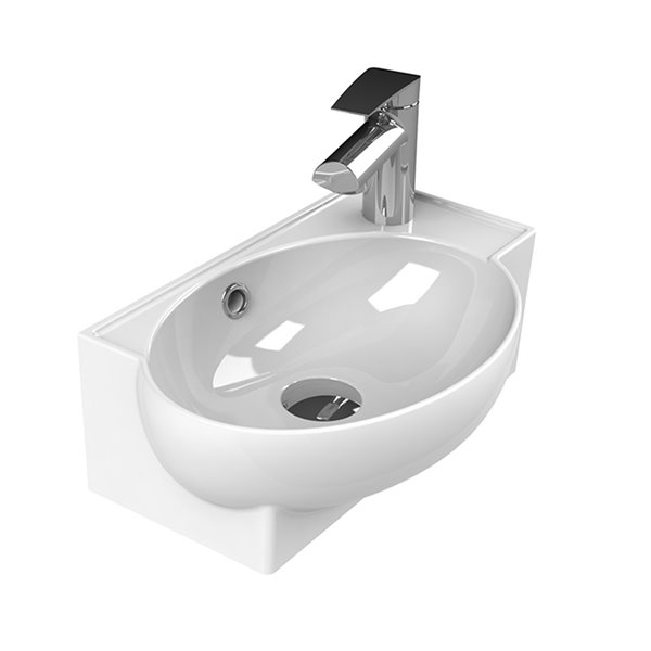 Nameeks Mini Vessel Sink in White - Triangular - 17.5-in x 11.2-in