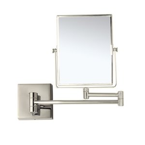 Nameeks Glimmer Wall Mounted Makeup Mirrors In Satin Nickel - 4.5-in x 8-in x 6.3-in