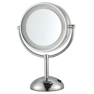 Nameeks Glimmer Free Standing Makeup Mirrors In Chrome - 4.23-in x 8.5-in x 8.5-in