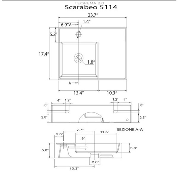 Nameeks Teorema Wall Mounted Sink In White - Rectangular - 17.32-in x 23.62-in