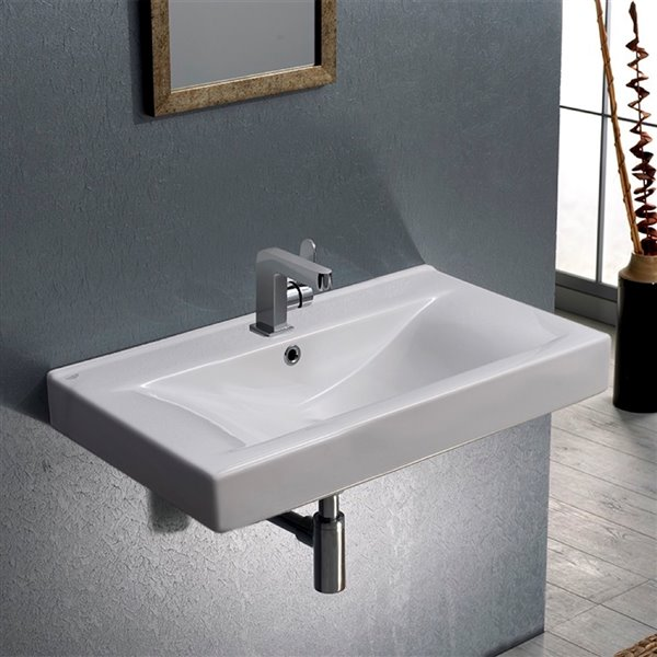 Nameeks Mona Wall Mounted Bathroom Sink in White - Rectangular - 31.6-in x 17.7-in