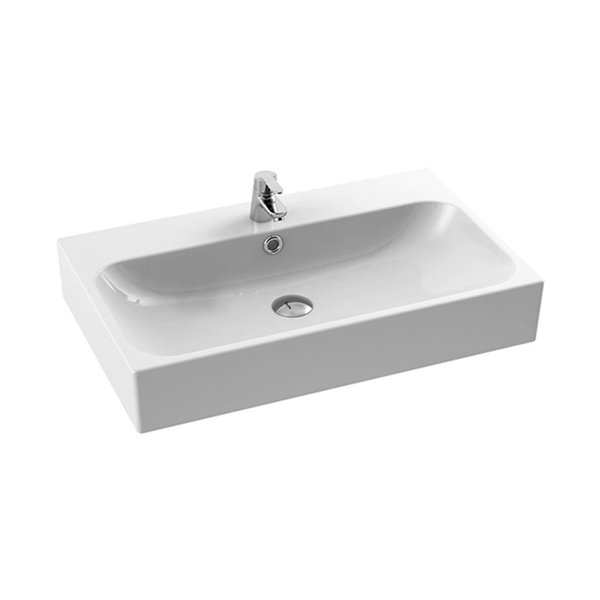 Nameeks Pinto Wall Mounted Bathroom Sink in White - Rectangular - 30-in x 18.9-in