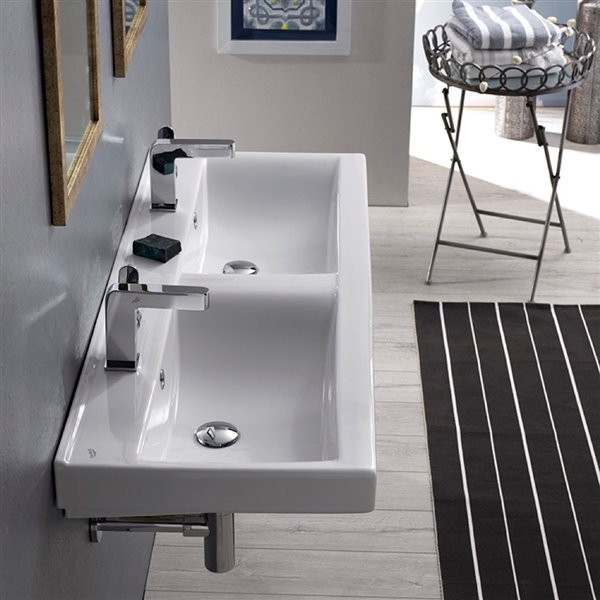 Nameeks Mona Wall Mounted Bathroom Sink in White - Rectangular - 47-in x 17.5-in