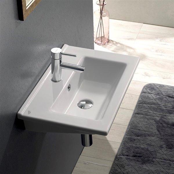 Nameeks Nameeks Arte Wall Mounted Bathroom Sink in White - 25.6-in x 17.7-in
