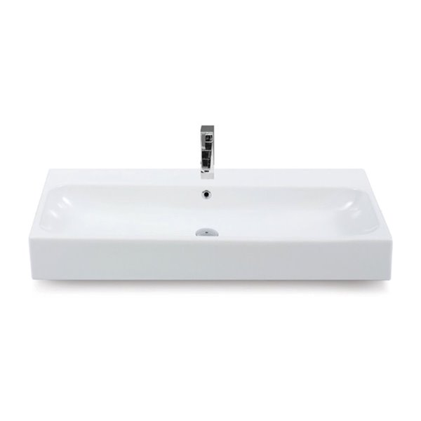 Nameeks Pinto Wall Mounted Bathroom Sink in White - Rectangular - 40-in x 18.2-in