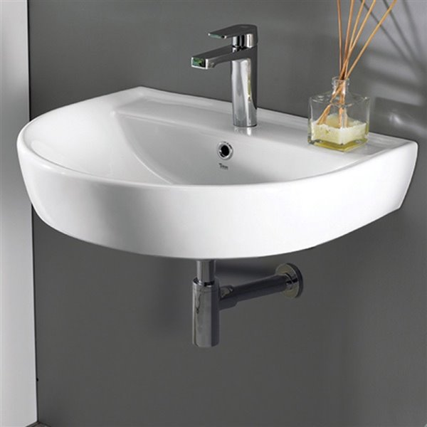 Nameeks Bella Wall Mounted Bathroom Sink in White - Round - 23.7-in x 19.5-in
