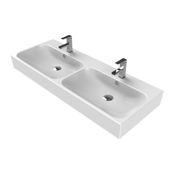 Nameeks Pinto Wall Mounted Bathroom Sink in White - Rectangular - 47.63-in x 18.3-in
