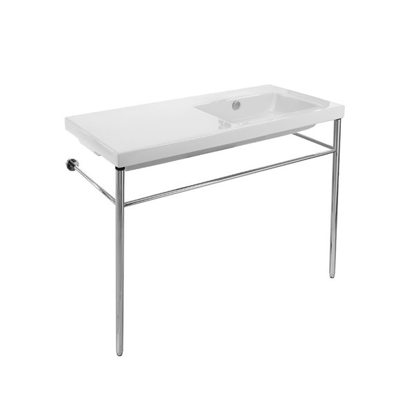 Nameeks Condal Ceramic Console Bathroom Sink with Chrome Stand - 39.3-in x 17.72-in
