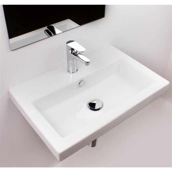 Nameeks Serie 40 Wall Mounted Ceramic Bathroom Sink in White - Square - 23.6-in x 15.7-in