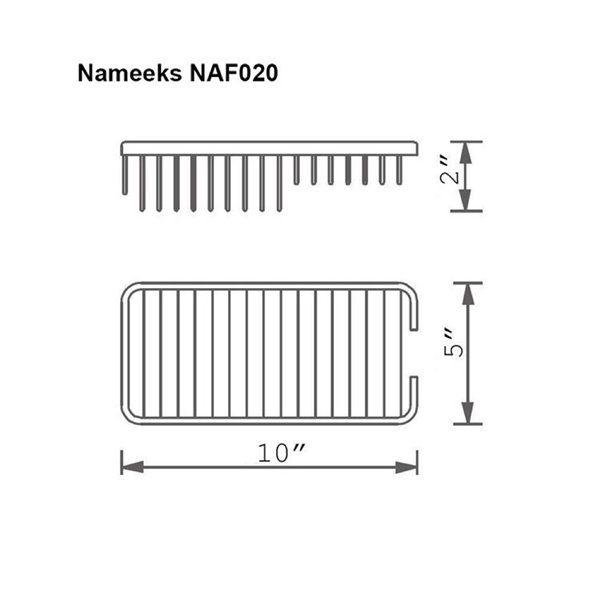 Nameeks General Hotel Wall Mounted Shower Basket in Chrome - 5-in x 2-in x 10-in