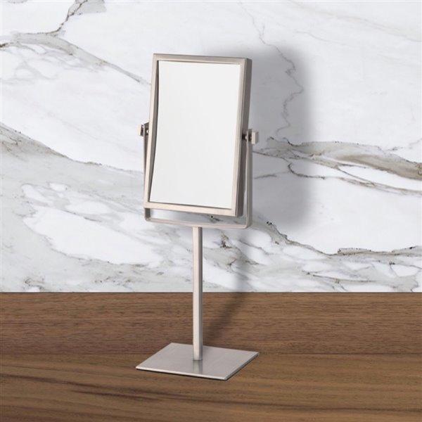Nameeks Glimmer Free Standing Makeup Mirrors In Satin Nickel - 4.5-in x 8.25-in x 6.3-in