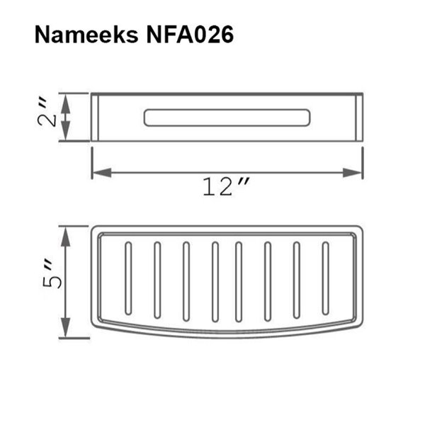 Nameeks General Hotel Wall Mounted Shower Basket in Chrome - 5-in x 2-in x 12-in