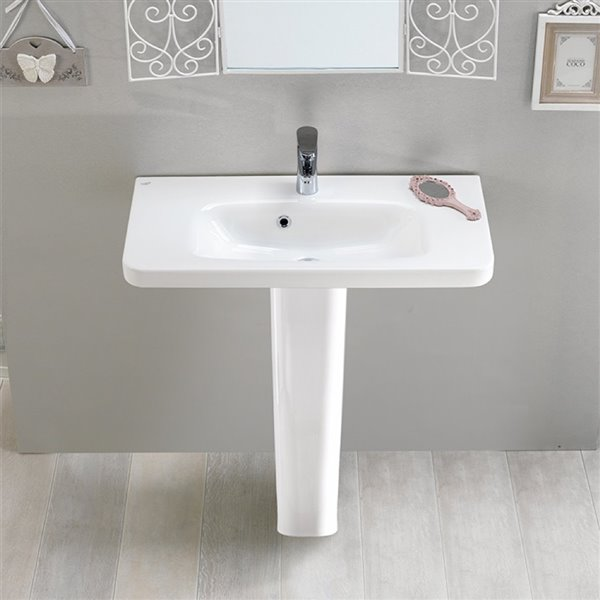 Nameeks Noura Rectangular Pedestal Sink in White - 32-in x 31.5-in x 11.9-in