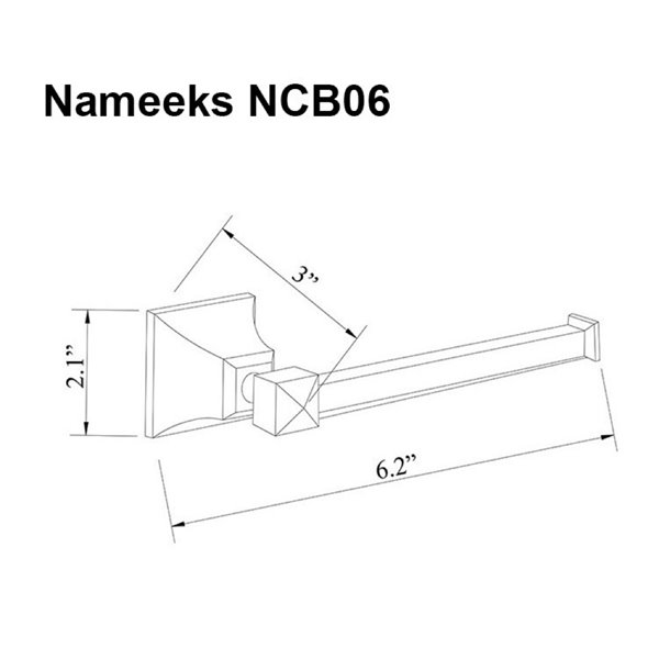Nameeks Classic Hotel Wall Mounted Toilet Paper Holder In Chrome - 3-in x 2.1-in x 6.2-in