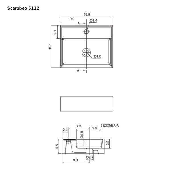 Nameeks Teorema Vessel Bathroom Sink In White - Rectangular - 15.1-in x 19.88-in