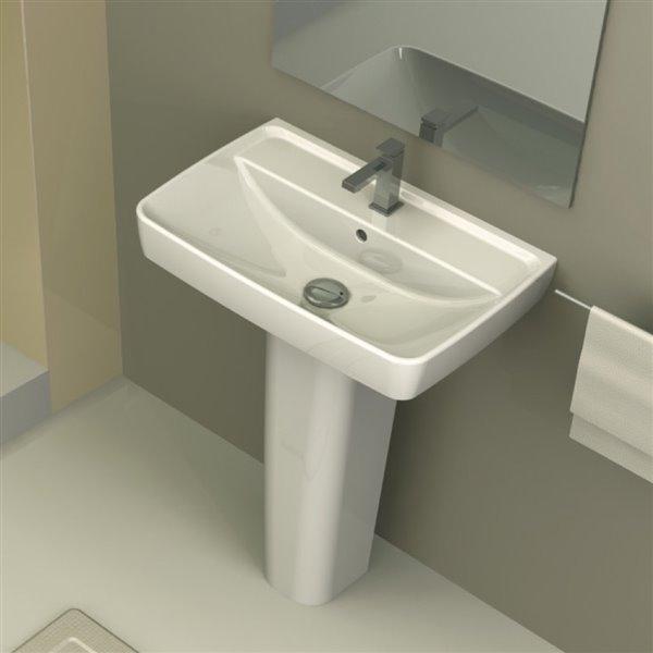 Nameeks Duru Square Pedestal Sink in White - Single Hole - 30.12-in x 22.62-in x 16-in