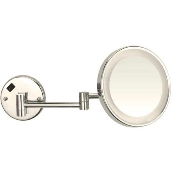 Nameeks Glimmer Wall Mounted Makeup Mirrors In Satin Nickel - 4.5-in x 8-in x 8-in