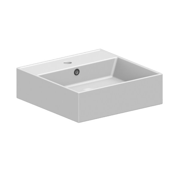 Nameeks Teorema Vessel Bathroom Sink In White - Square - 23.6-in x 15.2-in