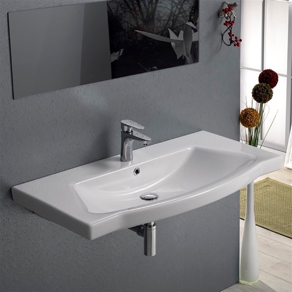 Nameeks Argona Wall Mounted Bathroom Sink in White - Rectangular - 48.03-in x 17.72-in