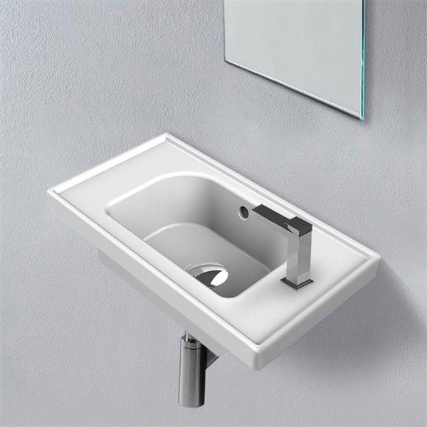 Nameeks Frame Wall Mounted Bathroom Sink in White - Rectangular - 16.86-in x 11.02-in