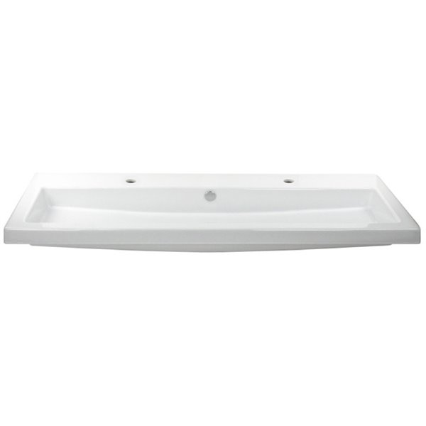 Nameeks Cangas Wall Mounted Ceramic Bathroom Sink in White - Square - 47.24-in x 17.72-in