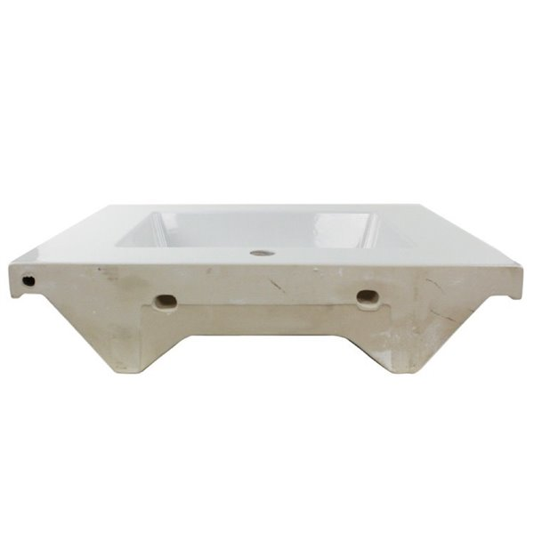 Nameeks Mars Wall Mounted Ceramic Bathroom Sink in White - Square - 27.56-in x 21.26-in