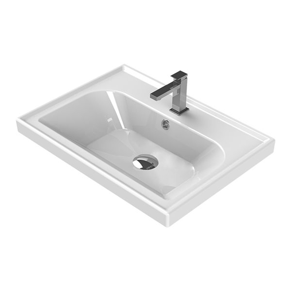Nameeks Frame Wall Mounted Bathroom Sink in White - Rectangular - 23.62-in x 17.72-in