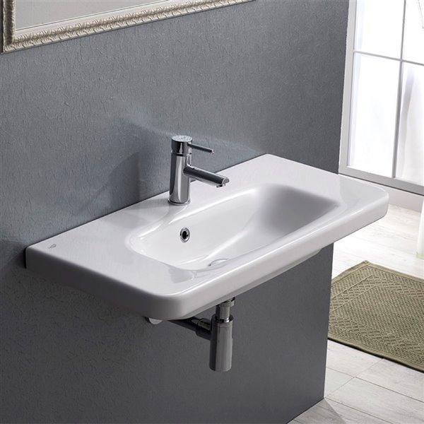 Nameeks Noura plus Wall Mounted Bathroom Sink in White - 31.5-in x 14.76-in