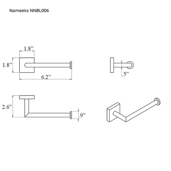 Nameeks Nice Hotel Wall Mounted Toilet Paper Holder In Chrome - 2.52-in x 1.73-in x 6.1-in