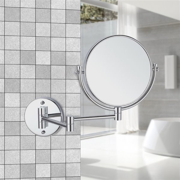 Nameeks Glimmer Wall Mounted Makeup Mirrors In Chrome - 4.5-in x 8-in x 8-in