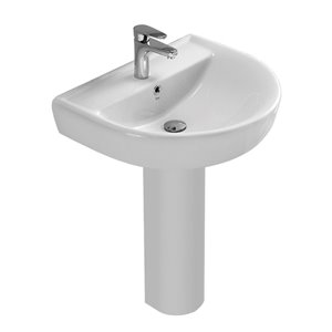 Nameeks Bella Pedestal Sink in White - 31.68-in x 17.71-in x 13.78-in