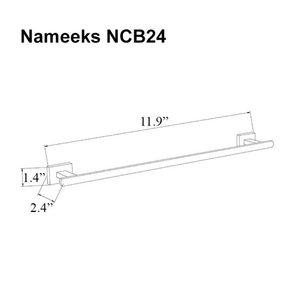 Nameeks General Hotel Wall Mounted Towel Bar In Chrome - 12-in