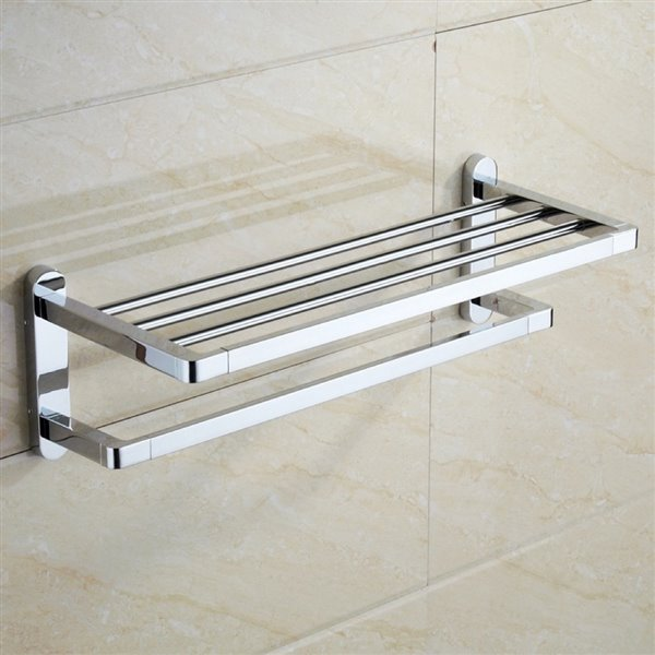 Nameeks General Hotel Wall Mounted Train Racks for Towels in Chrome - 22.5-in x 8.8-in