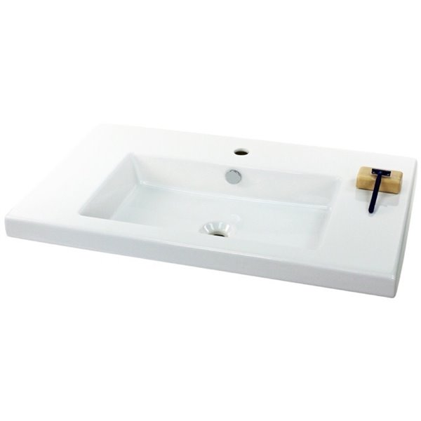 Nameeks Cangas Ceramic Console Bathroom Sink with Chrome Stand - 31.5-in x 17.72-in