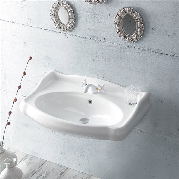 Nameeks Traditional Wall Mounted Bathroom Sink in White - Rectangular - 31.5-in x 21.06-in