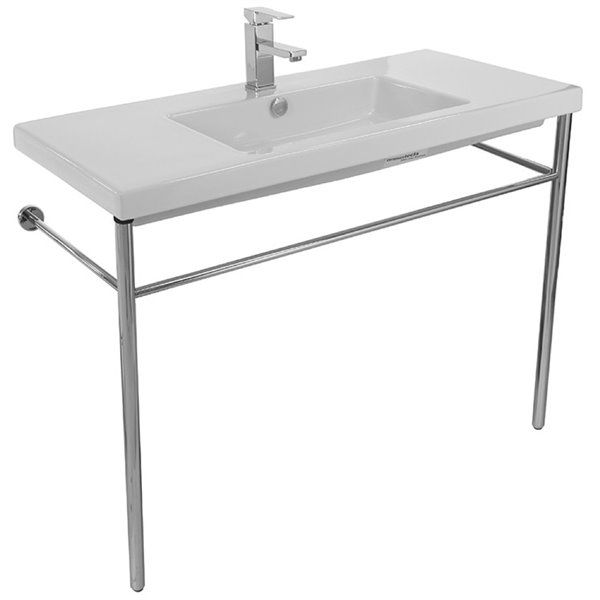 Nameeks Cangas Ceramic Console Bathroom Sink with Chrome Stand - 39.3-in x 17.72-in