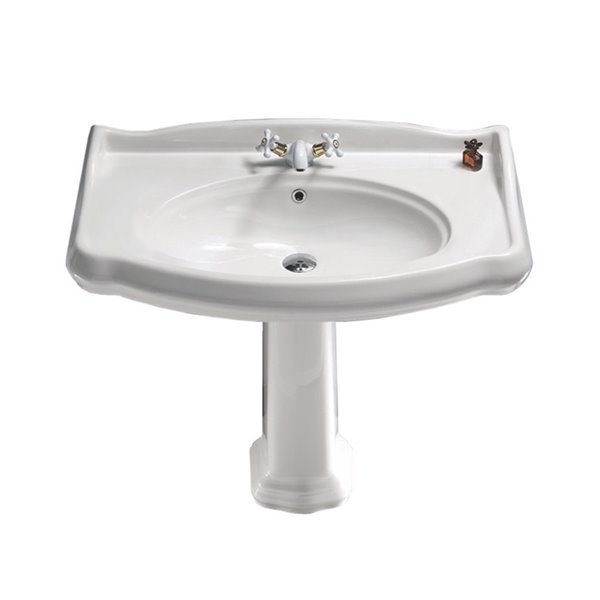 Nameeks Traditional Pedestal Sink in White - 31.9-in x 39.4-in x 21.1-in