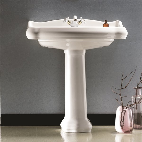 Nameeks Traditional Pedestal Sink in White - 34.9-in x 31.5-in x 21.1-in