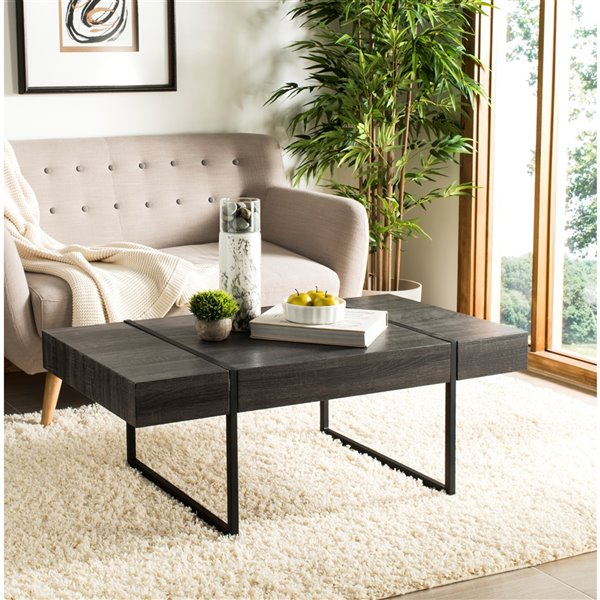Safavieh Tristan Rectangular Modern Coffee Table - Black Finish