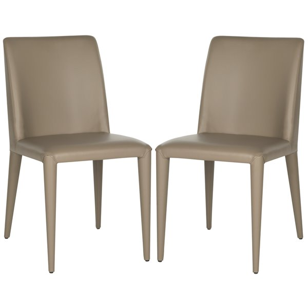 Safavieh Garretson 18-in H Leather Side Chair  - Taupe Seat and Finish (Set Of 2)