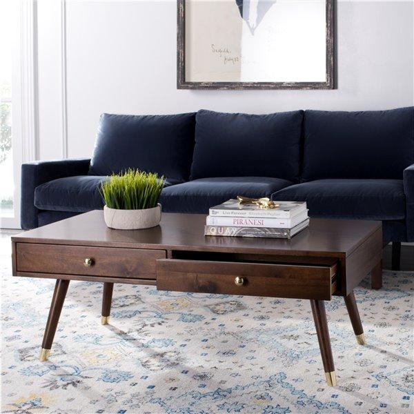 Safavieh Levinson Gold Cap Wood Rectangular Coffee Table - Brown