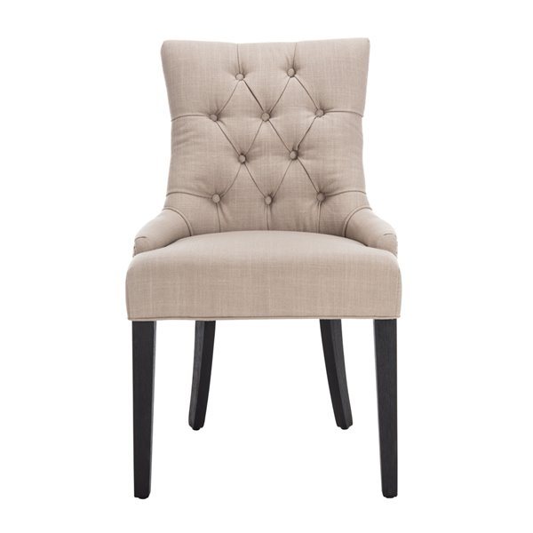 Safavieh Abby 19-in H Tufted Side Chair  - True Taupe Seat and Rustic Black Finish (Set Of 2)