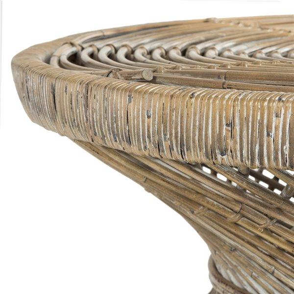 Safavieh Grimson Large Bowed Brown Wicker Coffee Table - 31.5-in Diameter