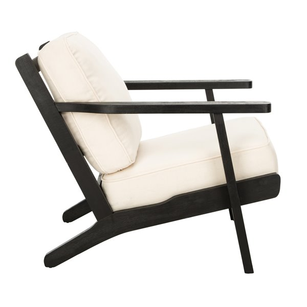 Safavieh Nico Mid Century Linen Accent Chair - Bone White/Black
